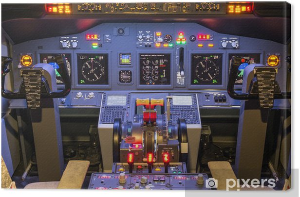 Cockpit of an homemade Flight Simulator - Boeing 737-800 Canvas Print