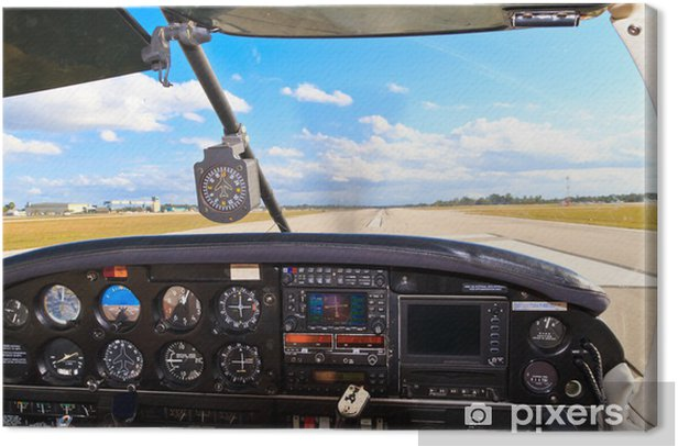 Cockpit view from small aircraft taking off from runway Canvas Print