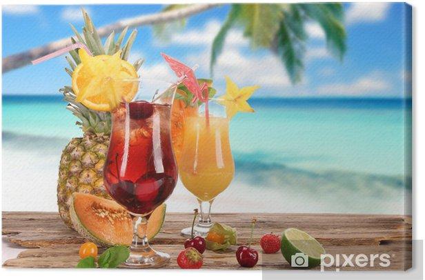 Cocktails on the beach Canvas Print - Alcohol