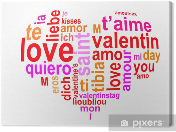 Coeur Saint Valentin nuage de mots Canvas Print - International Celebrations