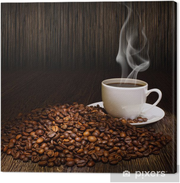 Coffee beans and white cup Canvas Print - Themes