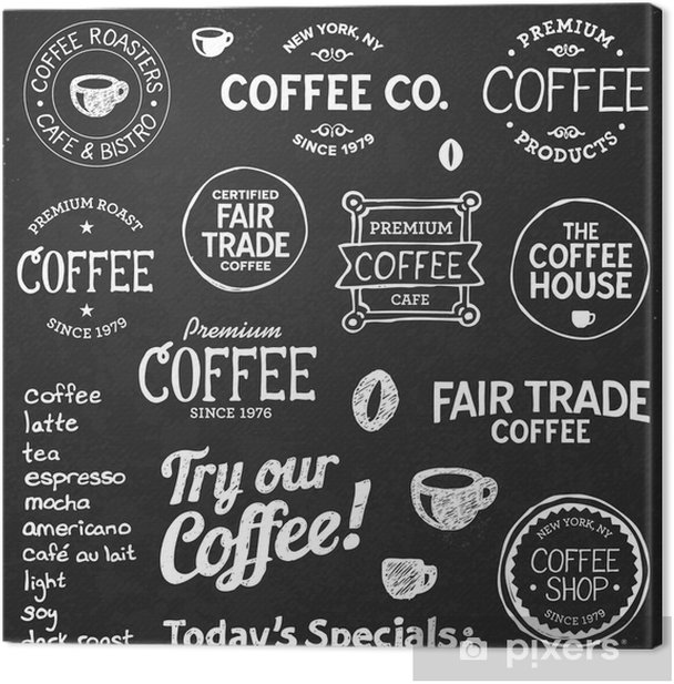 Coffee chalkboard text and symbols Canvas Print - Cafe