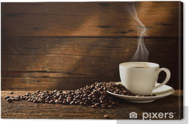 Coffee cup and coffee beans on old wooden background Canvas Print - Themes