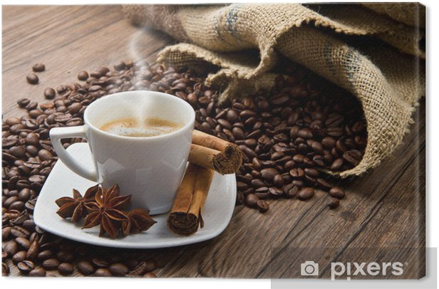 Coffee cup with burlap sack of roasted beans on rustic table Canvas Print - Themes