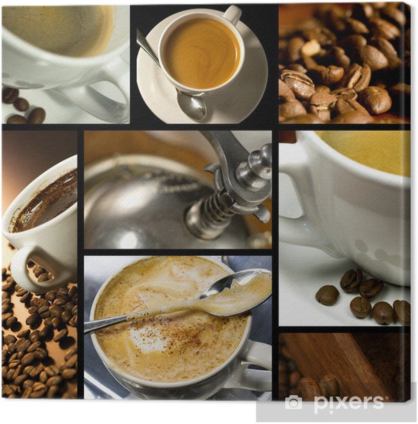 Coffee themed collage, coffee time, relax Canvas Print - iStaging