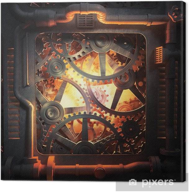 Cog wheels and gears industrial background Canvas Print - Styles