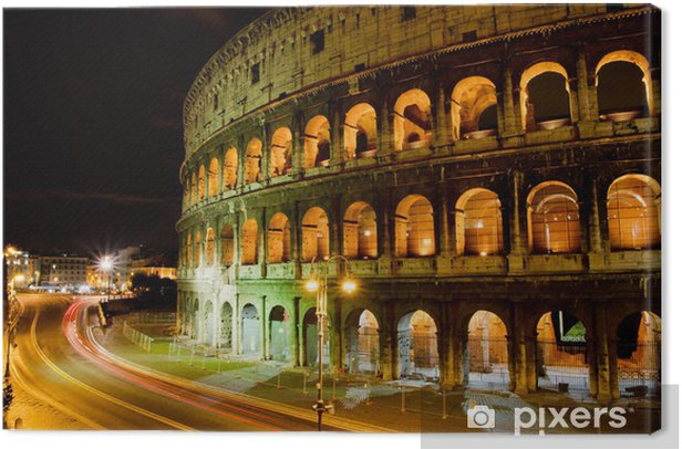 Coliseum by night, Rome Italy Canvas Print - Destinations