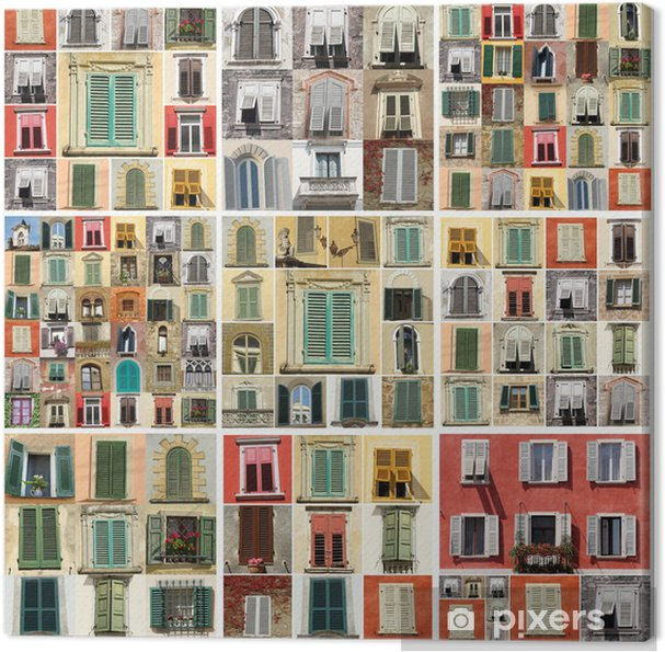 collage with various windows Canvas Print