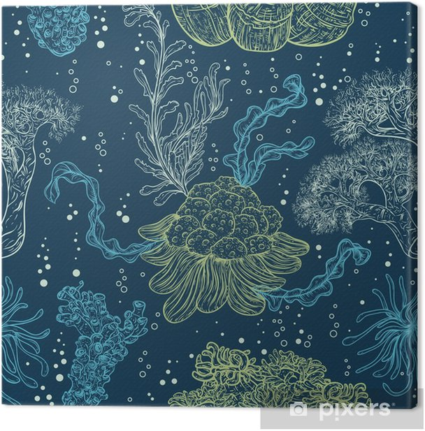 Collection of marine plants, leaves and seaweed. Vintage seamless pattern with hand drawn marine flora. Vector illustration in line art style.Design for summer beach, decorations. Canvas Print - Animals