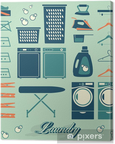 Collection of retro style laundry room symbols and icons Canvas Print - Home and Garden
