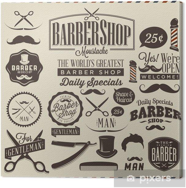 Collection of vintage grunge barber shop labels Canvas Print -