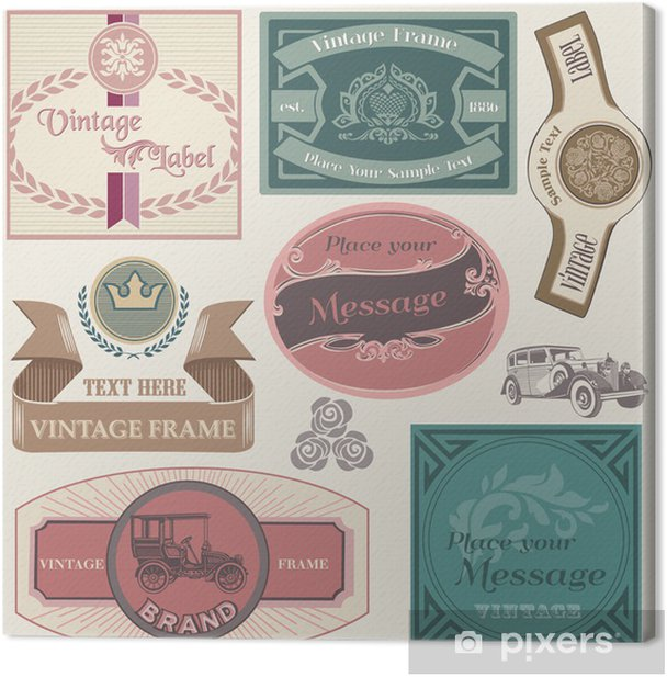Collection of Vintage Labels in vector Canvas Print - Signs and Symbols