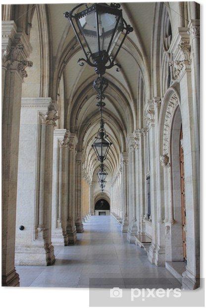 Colonnade in Vienna City Hall, Austria Canvas Print -