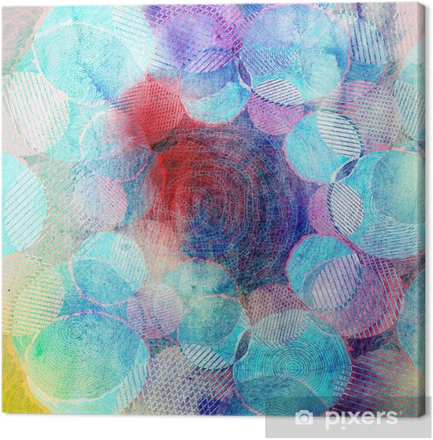 colored circles art illustration Canvas Print - Flowers and plants