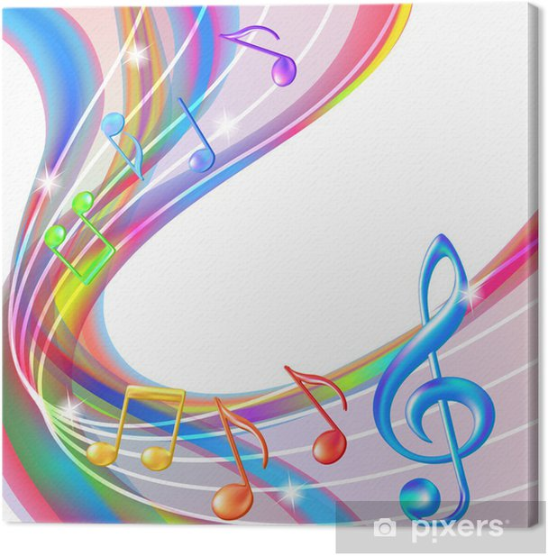 Colorful abstract notes music background. Canvas Print - Textures