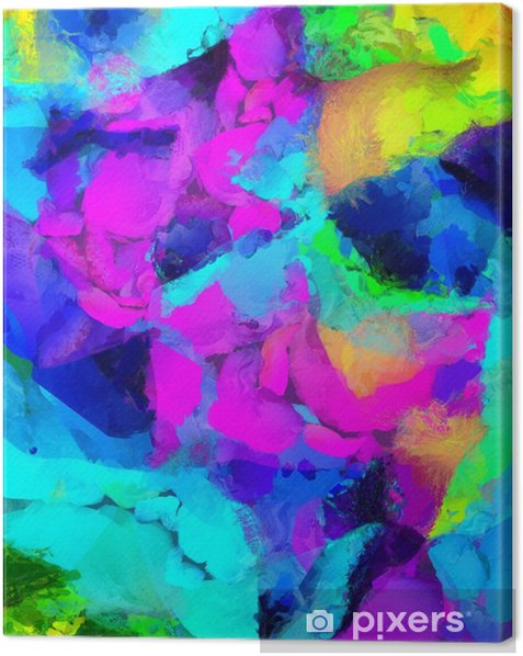 Colorful Abstract Painting. 3D rendering Canvas Print - Graphic Resources