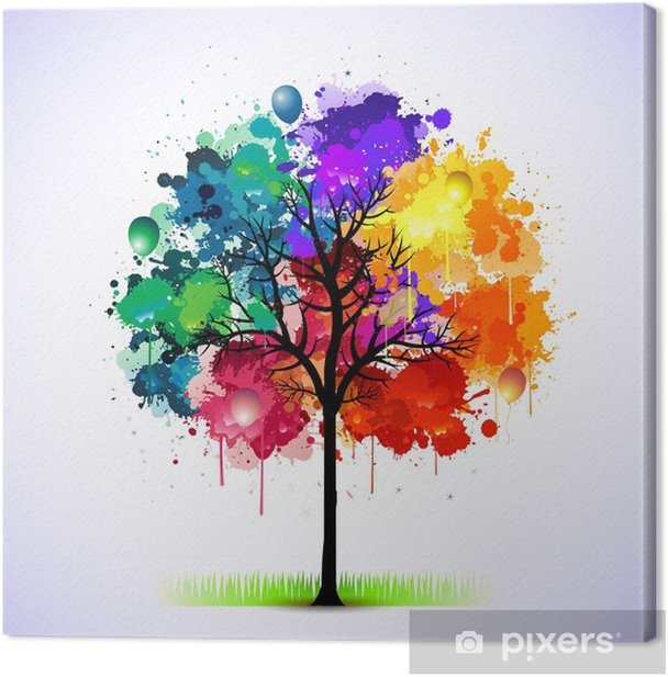 Colorful abstract tree background Canvas Print - Styles