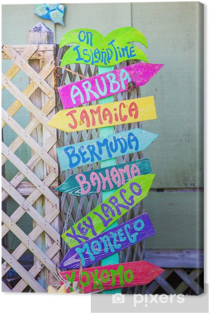 Colorful Beach Sign Canvas Print - Water