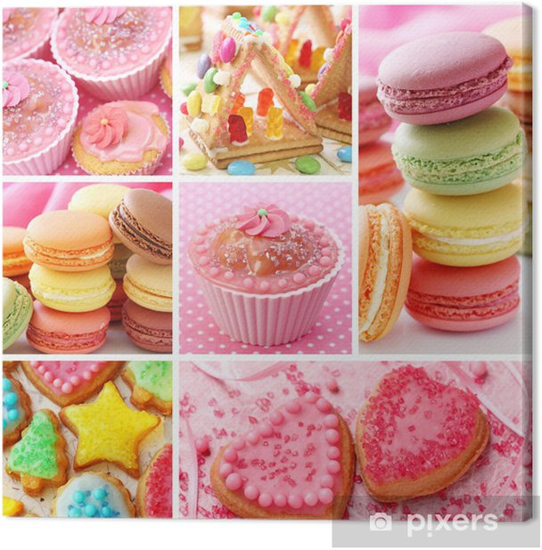 Colorful cakes collage Canvas Print - Culinary