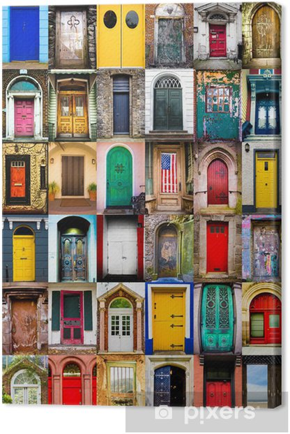Colorful collage of variety of doors Canvas Print -