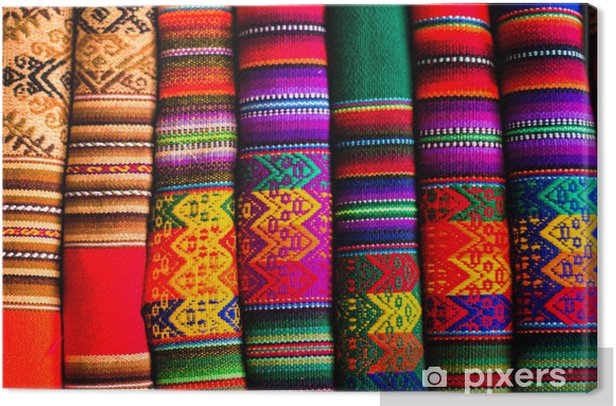 Colorful Fabric at market in Peru, South America Canvas Print - iStaging