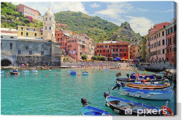 Colorful harbor at Vernazza, Cinque Terre, Italy Canvas Print - Themes