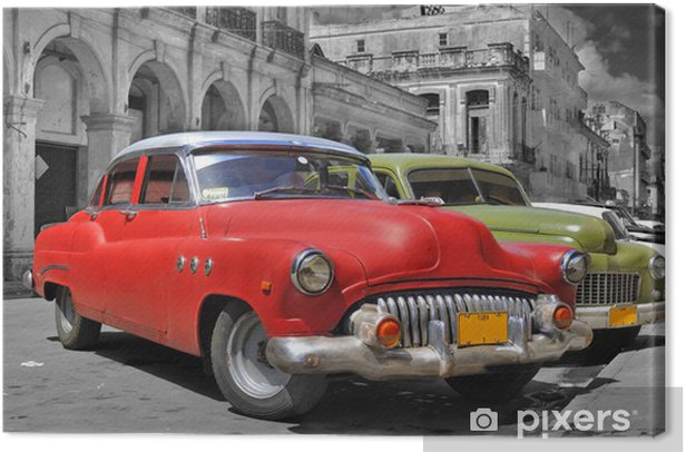 Colorful Havana cars panorama Canvas Print -