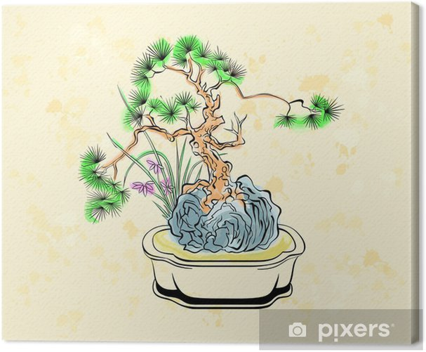 Colorful Ink Styled Drawing Of Bonsai Tree With Iris Flowers Canvas Print Pixers We Live To Change