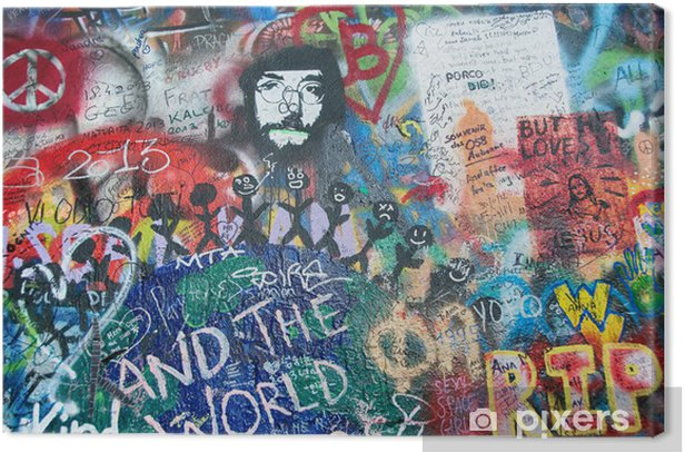 Colorful John Lennon wall in Prague Canvas Print - Other