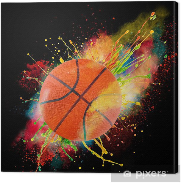 Colorful paint splashing Canvas Print - Basketball