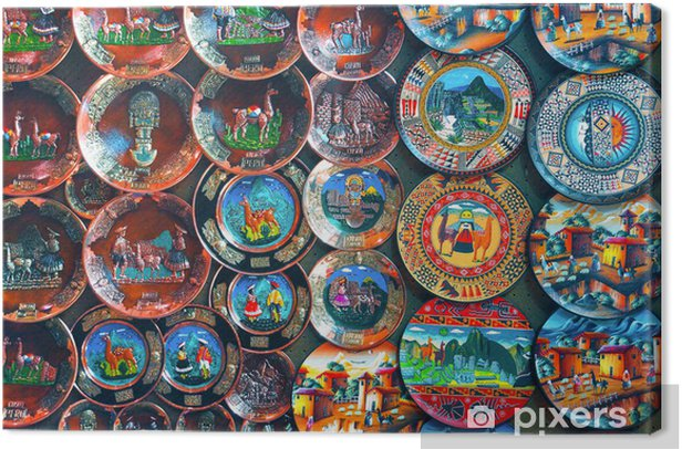 Colorful Peruvian handcrafted plates Canvas Print - America