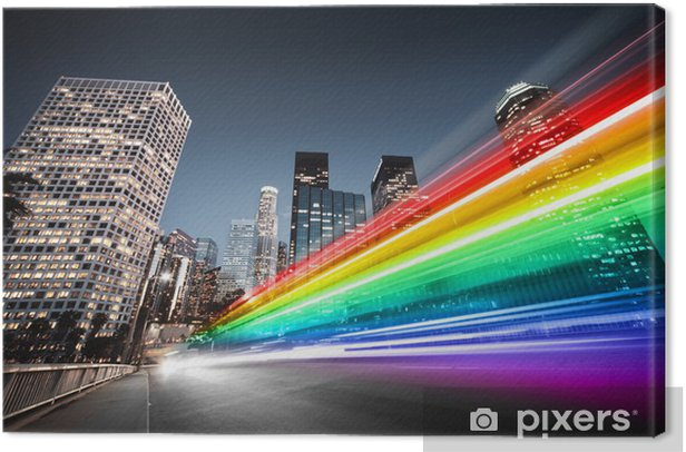 Colorful rainbow bus traffic blur in city Canvas Print - Styles