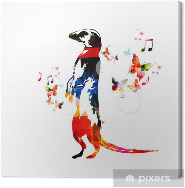Colorful vector meerkat background with butterflies Canvas Print - Wall decals