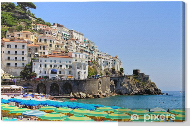 Colorful View Over The Beaches Of The Amalfi Coast Italy Canvas Print
