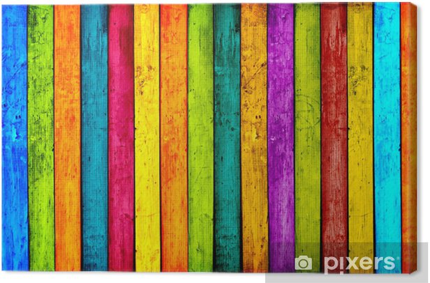 Colorful Wood Planks Background Canvas Print -