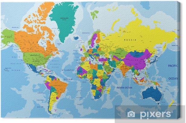 Colorful World political map with clearly labeled, separated layers. Vector illustration. Canvas Print - Themes
