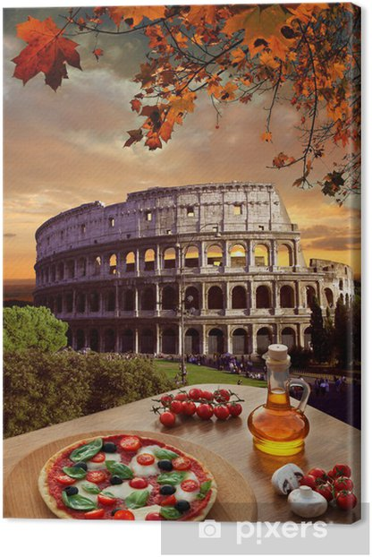 Colosseum with Italian pizza in Rome, Italy Canvas Print - Themes