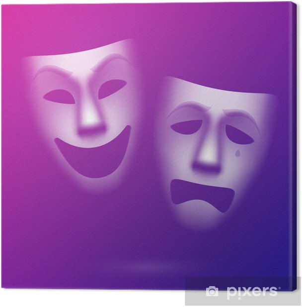 Comedy and tragedy theatrical masks. Easy to edit color. Canvas Print - Art and Creation