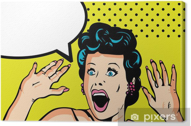 Comic Love Vector illustration of surprised woman face Canvas Print - Themes