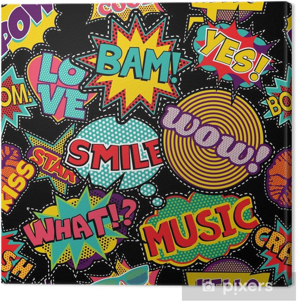 Comic pop art stitch patch seamless pattern Canvas Print - Graphic Resources