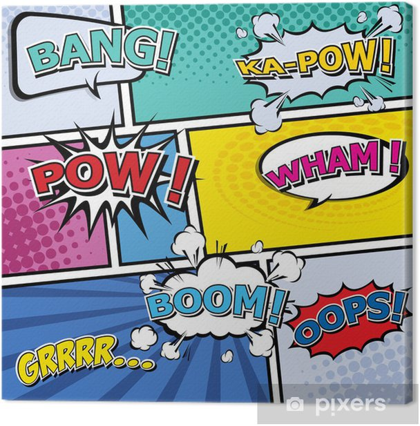 comic template Vector Pop-Art Canvas Print - Themes
