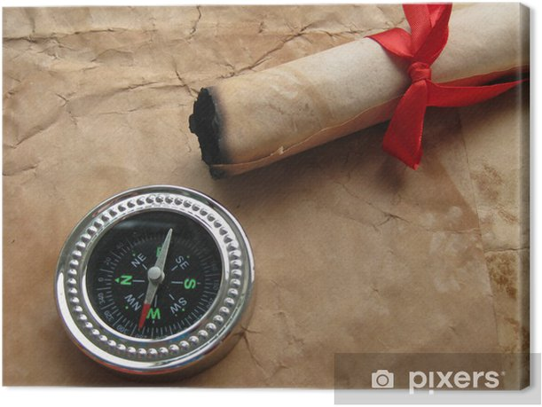 Compass and ancient letter with red tape Canvas Print - Other objects