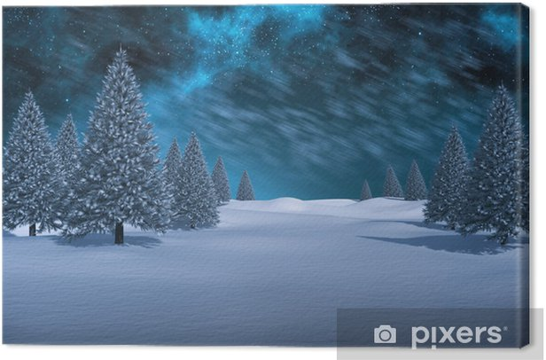 Composite image of white snowy landscape with fir trees Canvas Print - Holidays