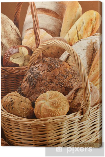 Composition with bread and rolls in wicker baskets Canvas Print - Themes
