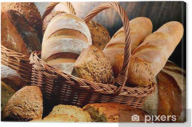 Composition with variety of baking products on wooden table Canvas Print - Food