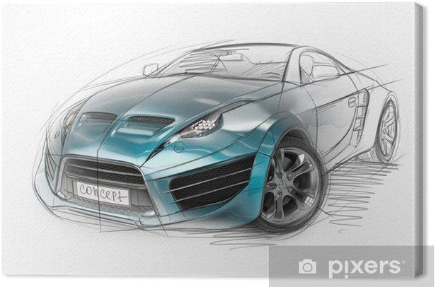 Concept car sketch. Original car design. Canvas Print - On the Road