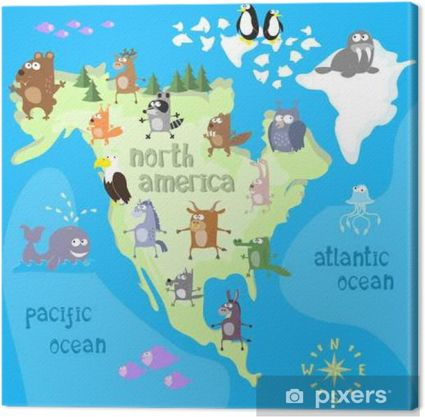 Concept Design Map Of North American Continent With Animals Drawing