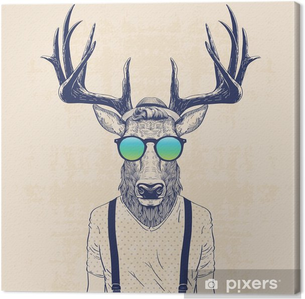 cool deer Canvas Print - Animals
