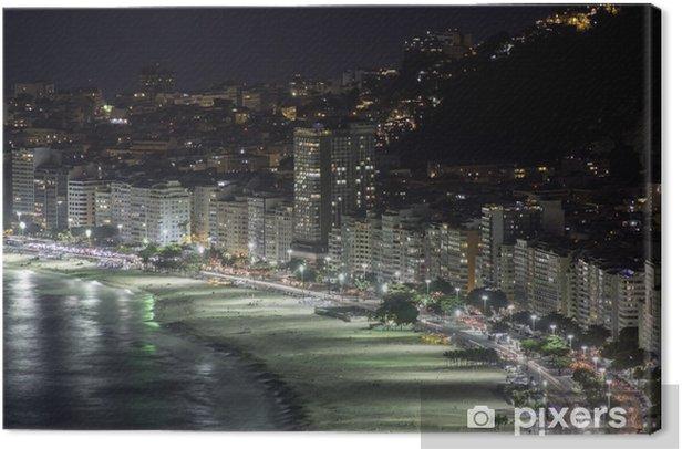 Copacabana Beach at night in Rio de Janeiro Canvas Print - American Cities