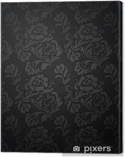 Corduroy Dark Gray Background Ornamental Flowers Texture Fabric Canvas Print